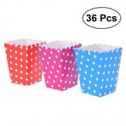36pcs Popcorn Boxes Holder Containers Cartons Paper Bags Dots Box for Movie Theater Dessert Tables Wedding Favors (Rose Red, Red and Dark Blue Background)