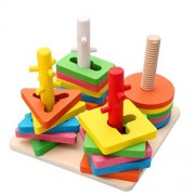 Joyeee Creative Wooden Color and Shape Geometric Sorting Board 2 - Stack & Sort Puzzle Toys - Perfect Christmas Gift Idea