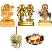 Gold Plated Gold Idols of Hanuman Vishnu Laxmi Cow Krishna with Shubh Vastu Surya and Turtle Plate - Combo