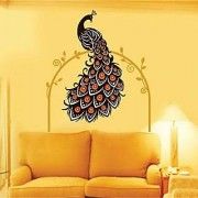 Walltola PVC Multicolor PVC Beautiful Peacock On Vine Nature Wall Sticker (24X35 Inch) (No of Pieces 1)