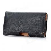 funda protectora de cuero con clip de cinturon para nokia lumia 920 - negro