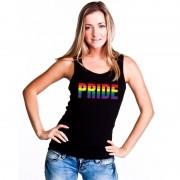 Bellatio Decorations Pride regenboog tekst singlet shirt/ tanktop zwart dames XL - Feestshirts