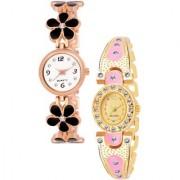 Varni Retail Blck Flower Belt And Gold Pink Oval Dial Diamond Watc 2 Combo Watch For Girls