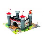 Set de joaca din lemn Castelul cavalerului, puzzle 30 piese si 9 accesorii