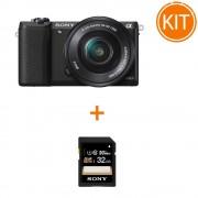 Kit Sony A5100 cu Obiectiv 16-50 F/3.5-5.6 OSS Negru + Sony SDHC 32GB Class 10 90MB/s