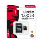 128GB microSDXC, с SD адаптер, Kingston Canvas Select, Class 10, скорост на четене 80MB/s, скорост на запис 10MB/s