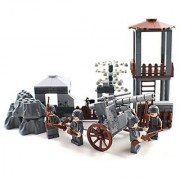 WW2 German Army Outpost with Artillery and Soldier Minifigures - Military Building Block Toy