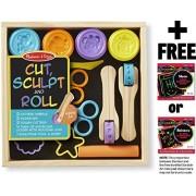 Cut, Sculpt & Stamp Clay Play Set Classroom: Deluxe Wooden Stamp Set + Free Melissa & Doug Scratch Art Mini Pad Bundle [51675]