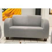 Benformato Sofa 2-Sitzer in hellgrauem Microfaser bezogen mit Wellenunterfederung und Komfortschaum, Holzfüße wengefarben, Maße: B/H/T ca. 135/72/93 cm