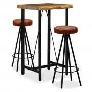 vidaXL Mobilier bar 3 piese lemn masiv reciclat, piele naturală, pânză