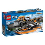 Lego City Great Vehicles 4 x 4 with Powerboat, Multi Color