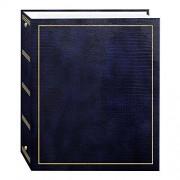 Pioneer álbumes de Fotos, 100páginas de Piel sintética con Sello Dorado Cover 3-Ring álbum de magnético, Azul Marino, 1