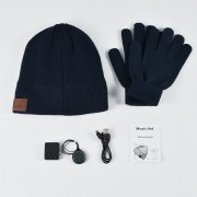 Bluetooth Headphones Winter Hat Warm Music Hat with Mic Gloves Wireless Headphone - Dark Blue