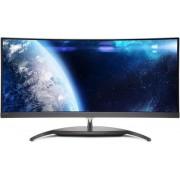 "Monitor AH-IPS LED Philips 34"" BDM3490UC/00, WQHD (3440 x 1440), HDMI, MHL, DisplayPort, 5 ms GTG, Ecran Curbat, Boxe (Negru/Argintiu)"