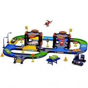Yiding City Parking Garage Playset Kid Track Playset Helipad with 2 Metal Cars and 1 Plane (Slide)