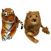 Wise Guys Stuffed Soft Cute Animal Lion & Tiger Soft Toy for kids (Pack of 2) - Multi Color