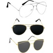 Rich Club Cat-eye, Aviator Sunglasses(Grey, Silver, Clear)