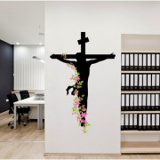 Vinyl Jesus Christ Floral Sticker Religion Christian Divine Trinity Prayer Wall Sticker