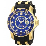 Invicta Watches Invicta Men's 6993 Pro Diver Collection GMT Blue Dial Black Polyurethane Watch BlueBlack
