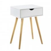 [en.casa]® Mesa auxiliar con un Cajón - 60 x 40 x 29,5 cm - Mesilla de noche - Mesita - Cómoda - Diseño - Blanco