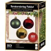 Bellatio Decorations Kerstbal en piek set 181x goud-groen-rood voor 210 cm boom - Kerstbal