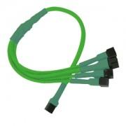 Cablu adaptor Nanoxia 3-pini Fan la 4x 3-pini, 30cm, Green
