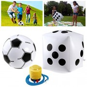 TOYMYTOY 15 inch Giant Inflatable Dice + 9 inch Soccer Ball + Inflator Pump, Family Party Games