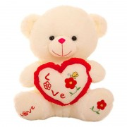Cute 15 Inch Peach Love Paw Teddy Bear holding a Butterfly Love Heart