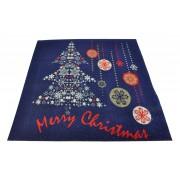 Tappeto blu Merry Christmas passatoia 100x110 cm. B6Bis