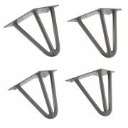 [en.casa]® Štýlové stolové nohy 3 – sada nôh (4 kusová) - 15 cm - strieborné