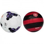 Premier League Purple/White + Western Sydney Red/Black Football (Size-5) Pack of 2 Footballs