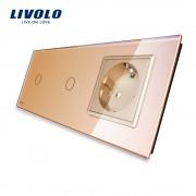 Intrerupator LIVOLO simplu+simplu cu touch si priza din sticla, auriu