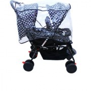 Soft Comfortable Shockproof Twin Stroller Pram with Rain Cover (Blue)