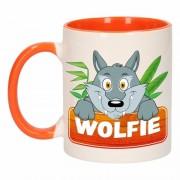 Bellatio Decorations Dieren mok /wolven beker Wolfie 300 ml
