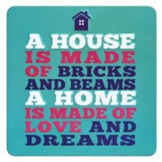tinnen magneet met quote - a home is made of love and dreams