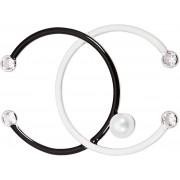 JwL Luxury Pearls Broșă alb-negru cu cristal și perla dreaptă JL0447