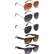 NuVew Aviator, Wayfarer Sunglasses(Black, Brown, Grey, Violet)