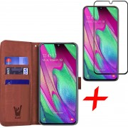 Samsung Galaxy A40 Hoesje + Screenprotector Full Screen - Book Case Portemonnee - iCall - Bruin