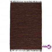 vidaXL Ručno tkani tepih Chindi od kože 160 x 230 cm smeđi