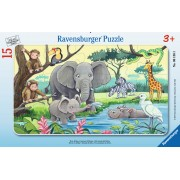 PUZZLE ANIMALE DIN AFRICA, 15 PIESE - RAVENSBURGER (RVSPC06136)