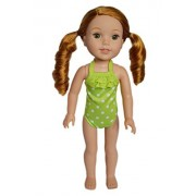 My Brittany's Lime Dot Swimsuit for Wellie Wisher Dolls-14 Inch Doll Clothes