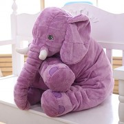 MorisMos Stuffed Elephant Plush Pillow Toy Purple 24 inch/60cm