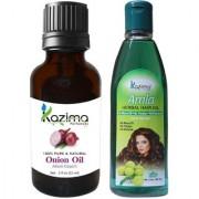 KAZIMA Combo of Onion Oil 15ML and Amla Herbal Hair Oil 100ML Anti Hair Loss Treatment Dandruff Control