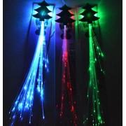 "(6 Pk) 14"" Led Christmas Tree Flashing Hair Braid Extensions, Fiber Optic Light Up Flash Barrette Clip Braid, Assorted Colors"