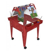 """Childbrite 24"""" Basic Activity Easel with Two Caddies 8 Clips Locking Caster High Red Frame"""