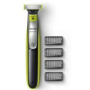Aparat hibrid de barbierit si tuns barba Philips OneBlade QP2530/20, 4 piepteni, Acumulatori (Negru/Verde)