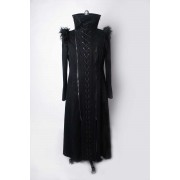 Punk Rave Gothic Long Unisex Coat Black Y-405
