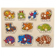 Joyeee 10 Pcs Wooden Matching Pegged Puzzles - Creative Wood Educational Shape and Color Puzzle - Perfect Christmas Gift Idea