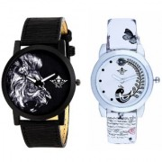 Dangerous Lion With White More Couple Analogue Wrist Watch By Google Hub