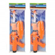 Merkloos 2x Waterpistolen/waterpistool met petfles oranje van 52 cm kinderspeelgoed